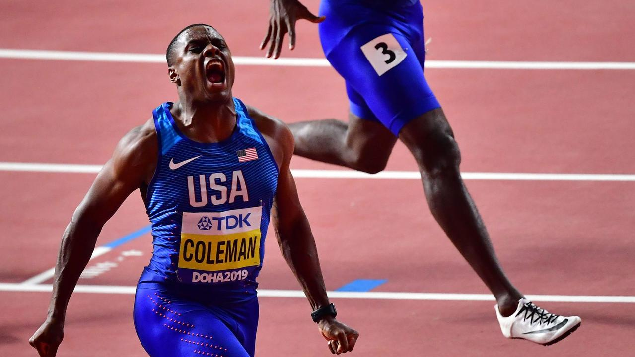Christian Coleman after winning the Men's 100m final at the 2019 IAAF World Athletics Championships. Picture: Giuseppe CACACE/AFP