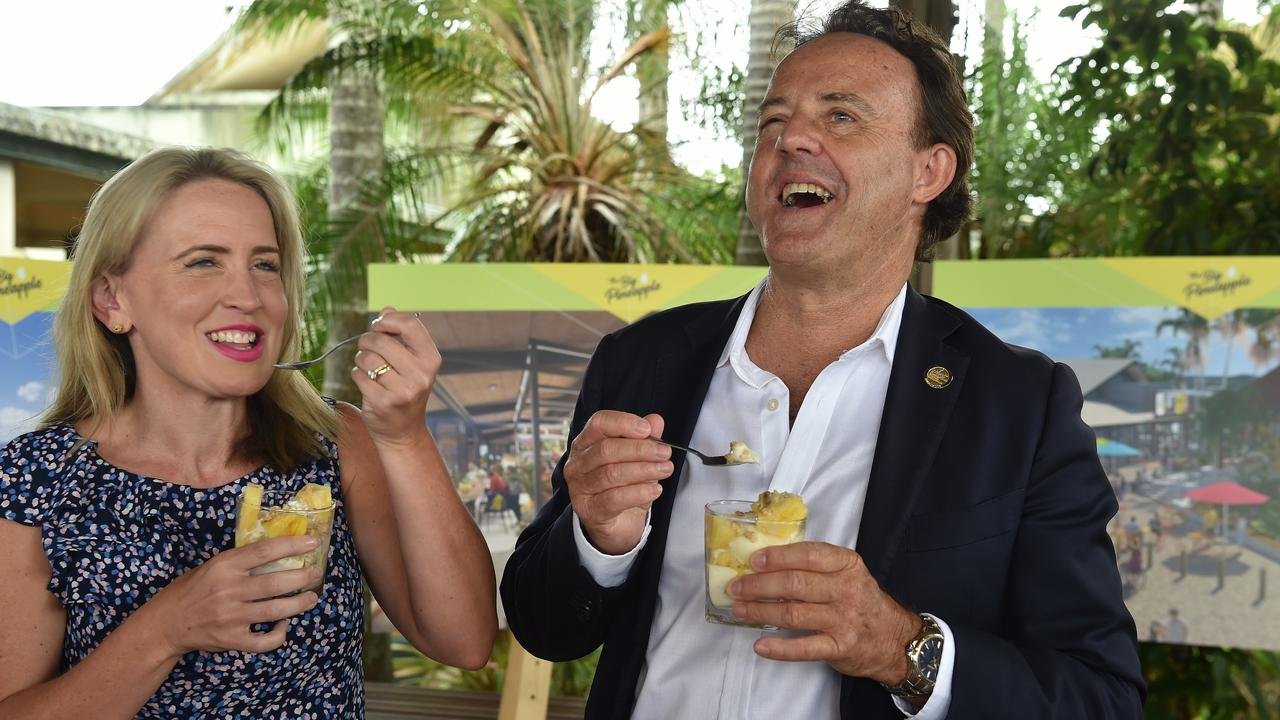 Tourism Industry Minister Kate Jones announces the Big Pineppale Renewal Project. Kate Jones and Visit Sunshine Coast CEO Simon Latchford enjoy a parfait.