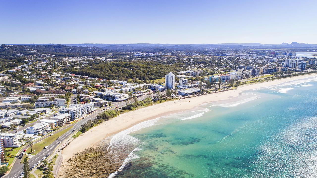 Maroochydore is the most popular holiday destination on the Sunshine Coast, and second-most Australia-wide. Pictured is an aerial view over Alexandra Headland and Maroochydore. Picture Lachie Millard