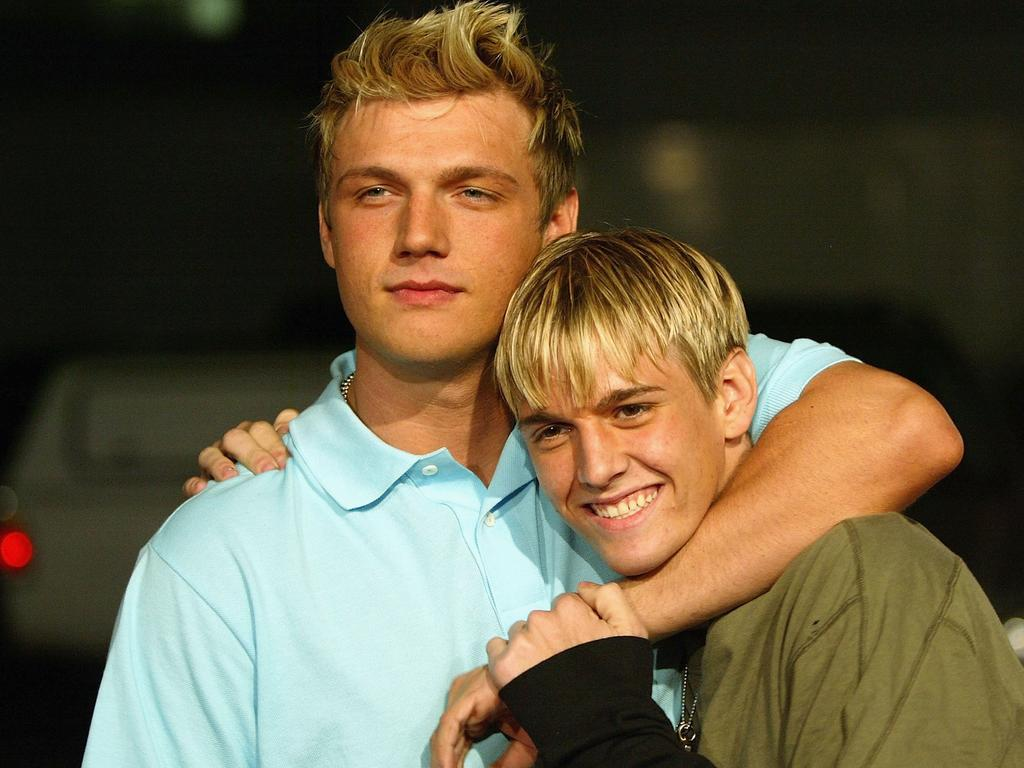 Aaron Carter (right) and estranged brother Nick. Picture: Frazer Harrison/Getty Images