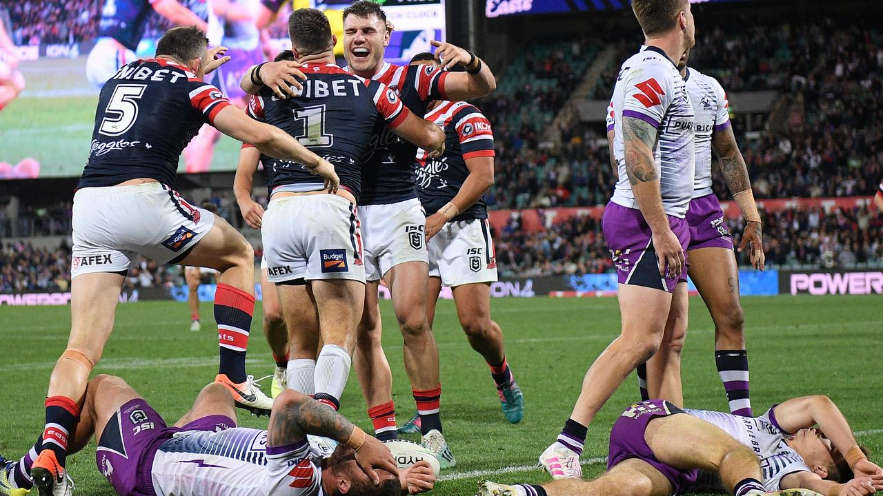 Tedesco leaves the Storm players feeling flat after grabbing the decisive try.