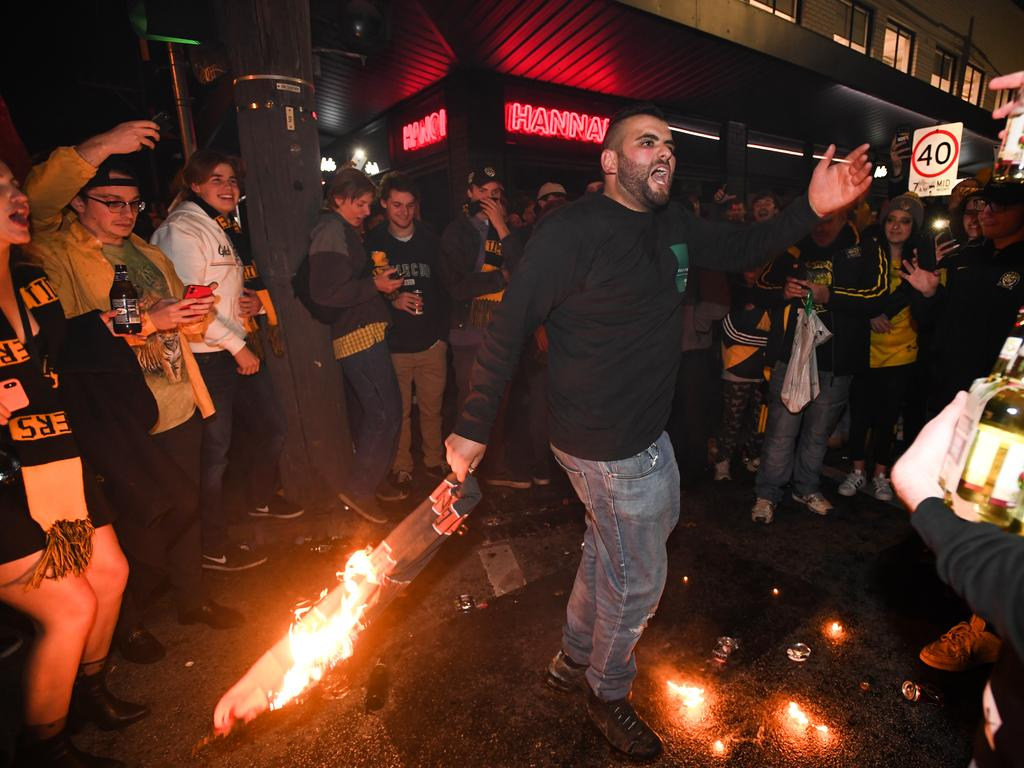 Fans were burning Giants items.