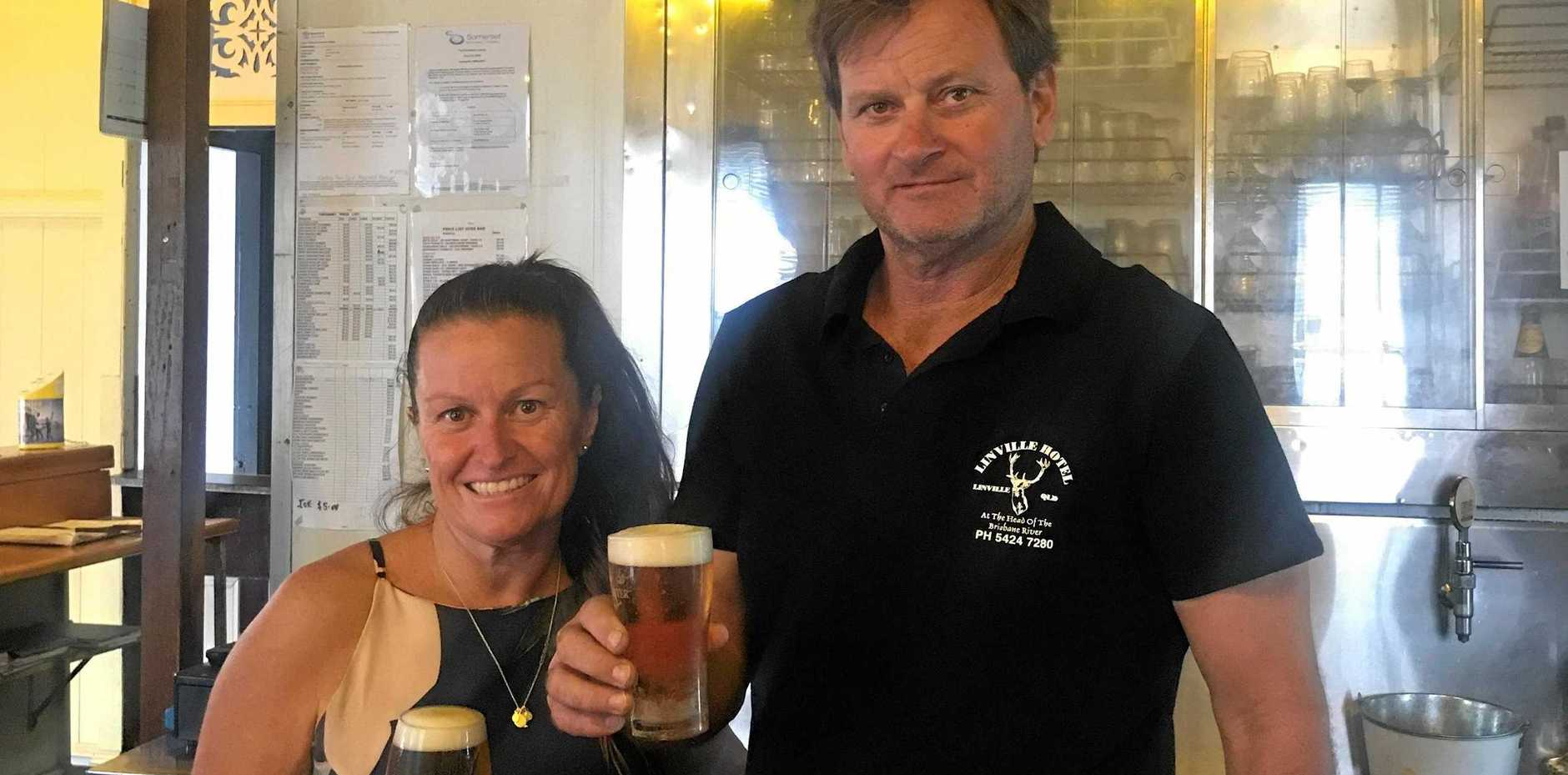 REFRESHING TASTE: Linville Hotel publicans Leah Squire, with Paul Squire.