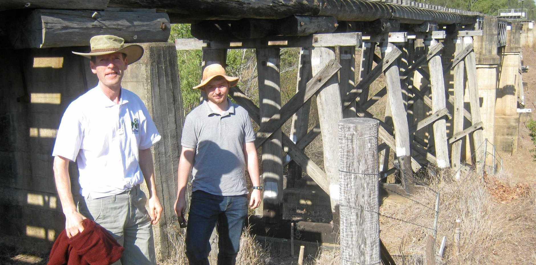 INSPECTION: Rail Trails Australia president Damiam McCrohan and Boyne Burnett Inland Rail Trail volunteer Nick Schmidt.