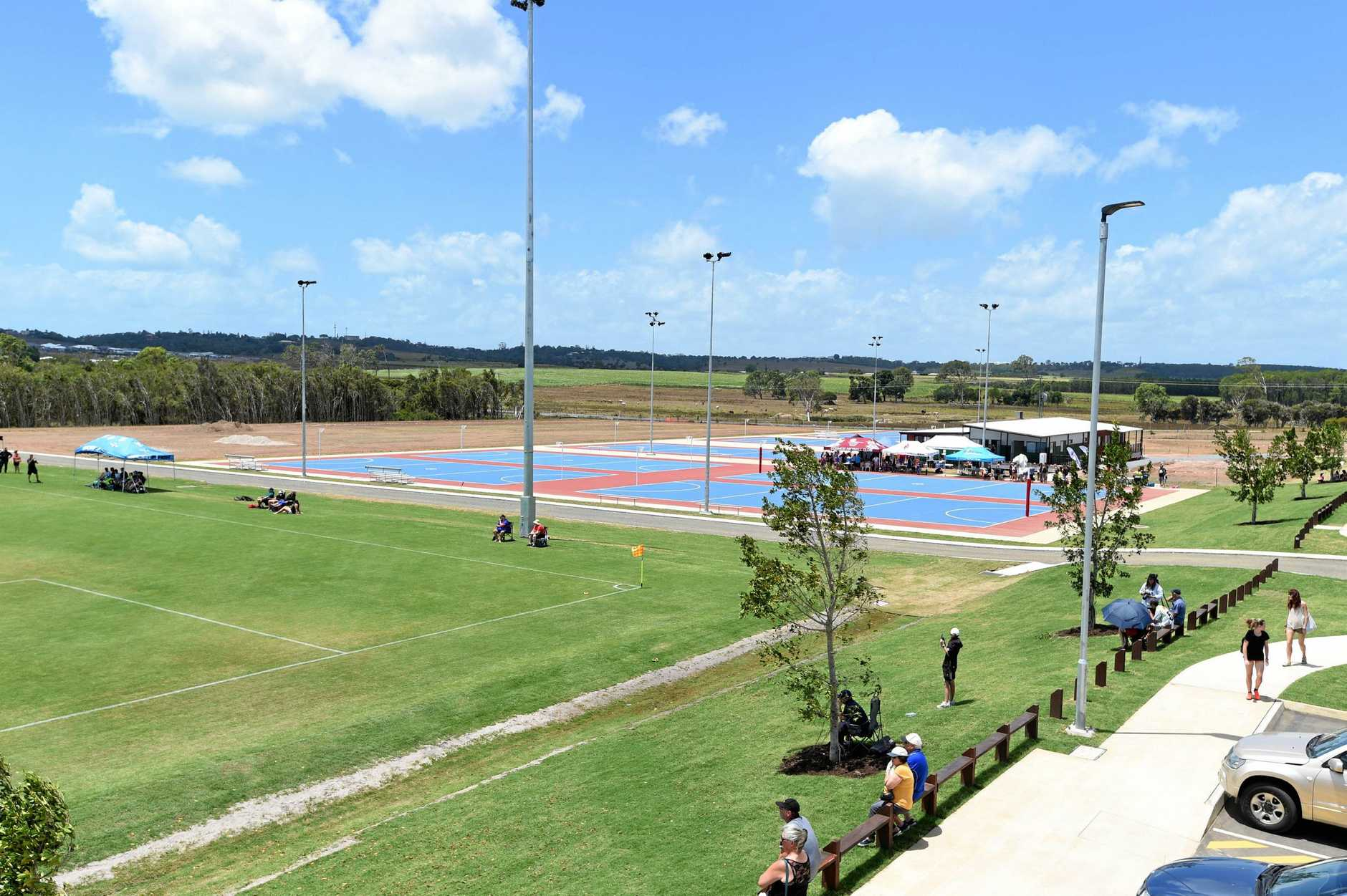 Opening of new Fraser Coast Sports Precinct - looking across Field 1 and netball courts.