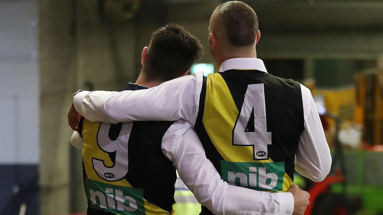 A moment to soak it all in — Dustin Martin and Trent Cotchin. Picture: Michael Klein