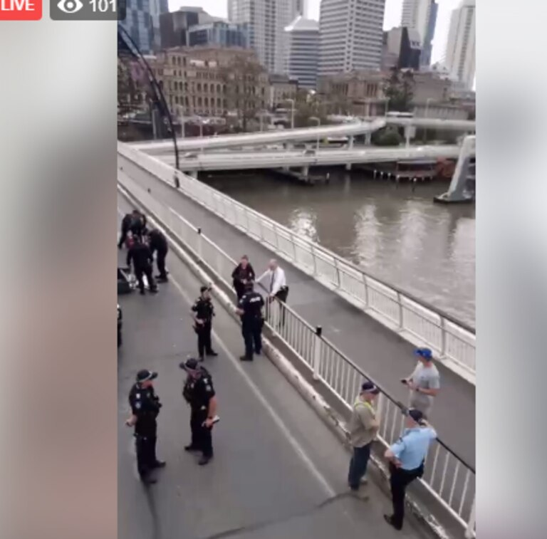 Extinction Rebellion protestor Sophie Thompson is livestreaming the protest. Picture: Facebook