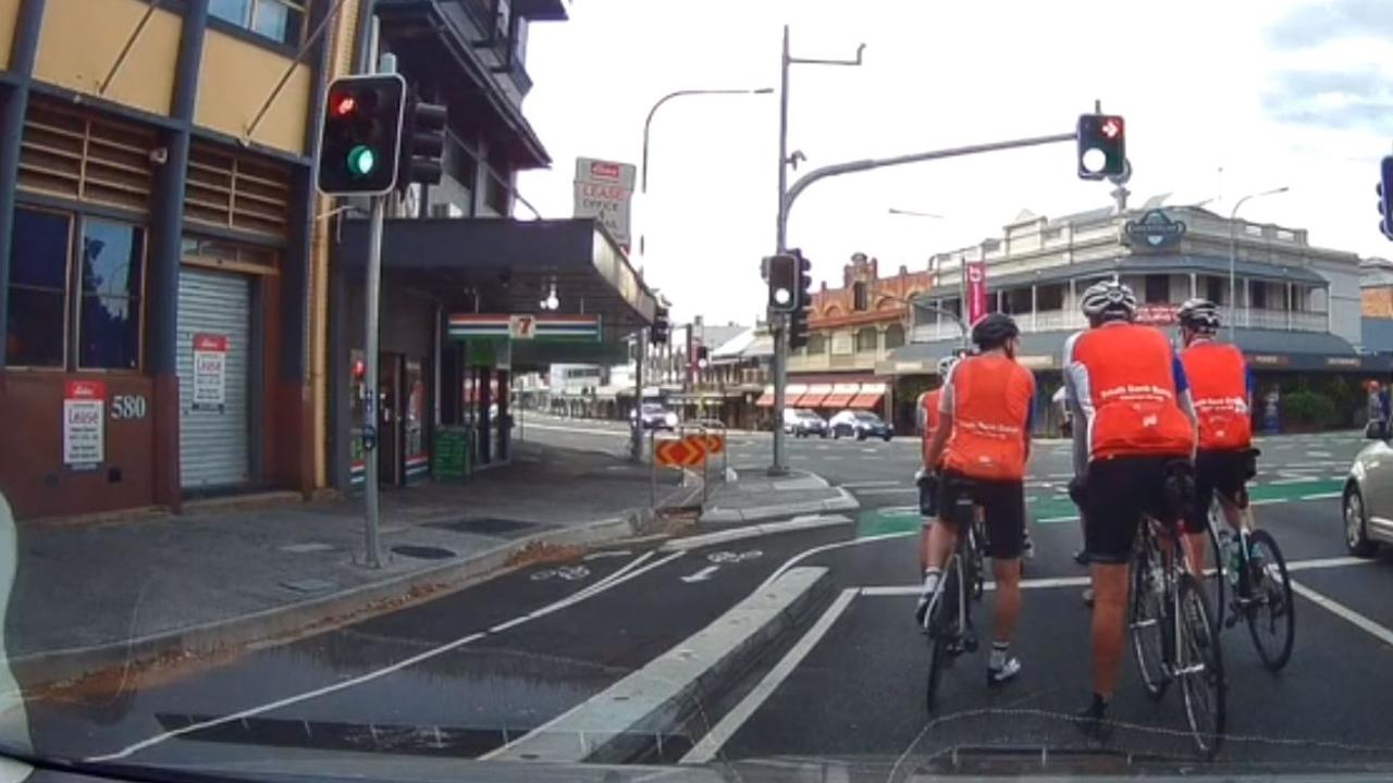 The video sparked debate over whether the cyclists were in fact in the wrong lane. Picture: Poopstarfiretruck via Reddit