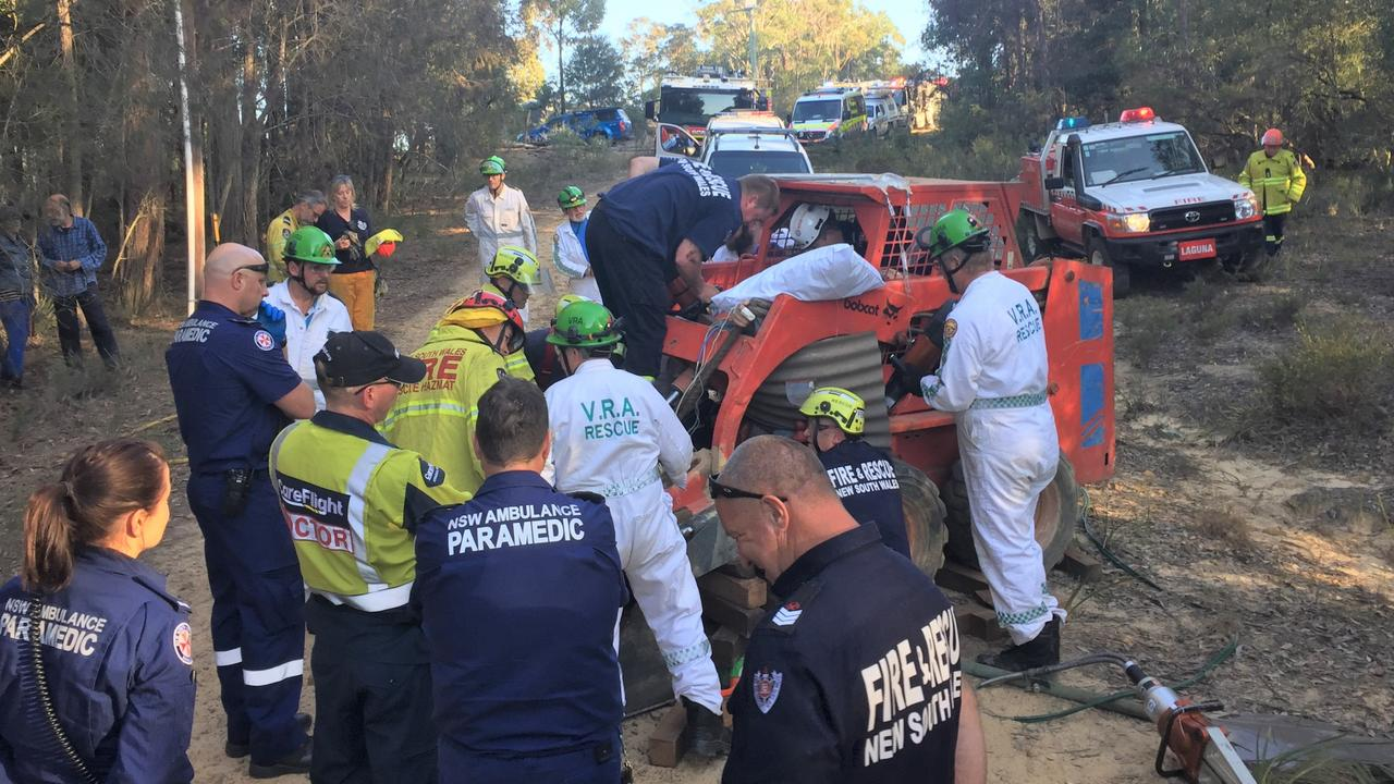 The man was freed from the bobcat after an hour-long rescue operation involving Fire and Rescue and NSW Ambulance.