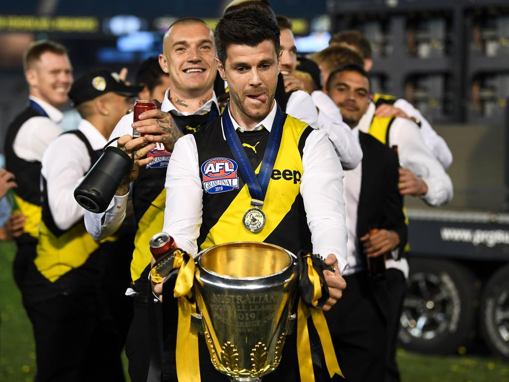 Trent Cotchin started a conga line. Picture: Daniel Carson