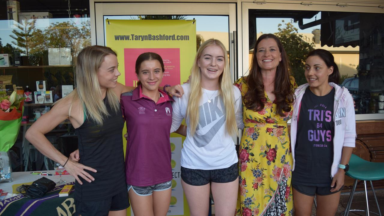 Jane Larkin, Chloe Mclennan, Kristina Lane, Taryn Bashford and Annelise Jefferies at the launch of Bashford's book The Harper Effect.