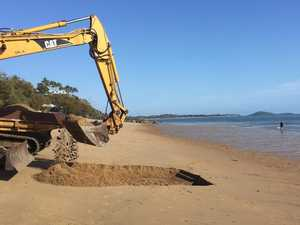 Why there is machinery at popular Mackay beach