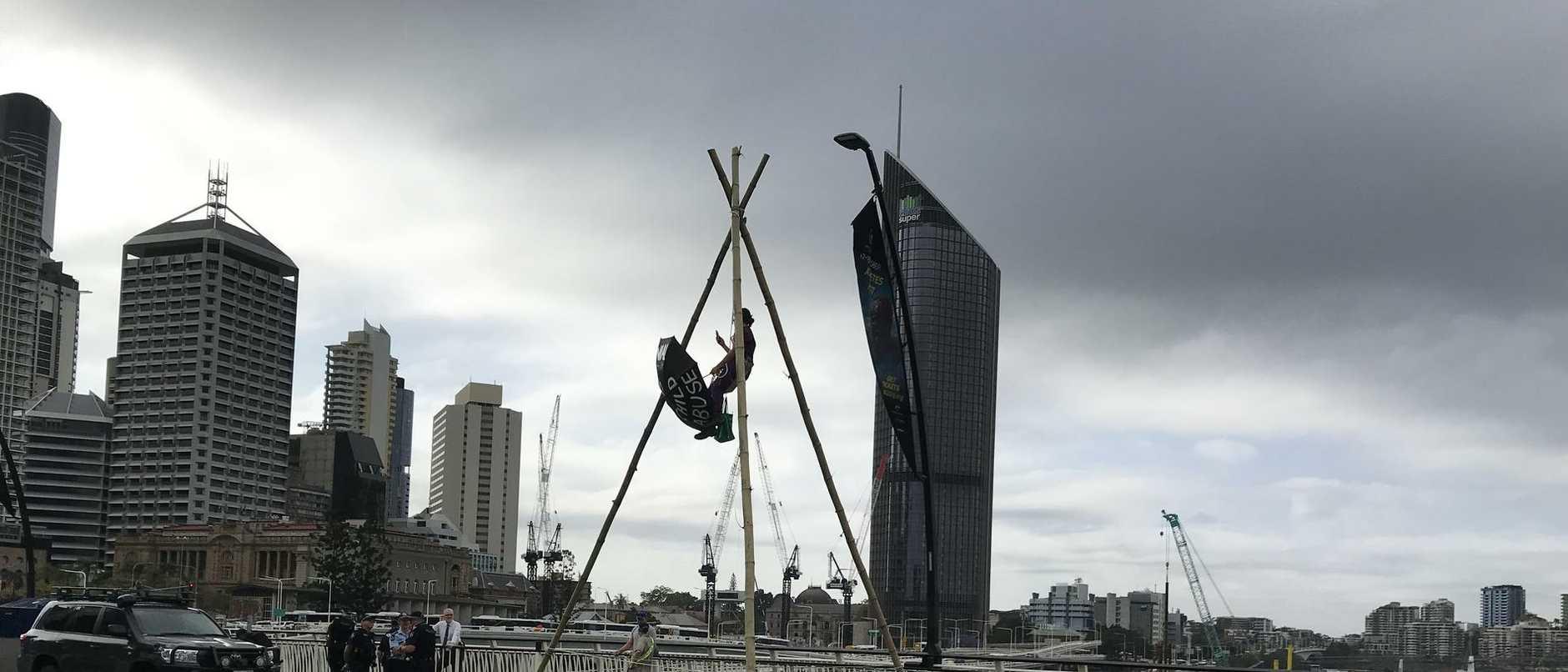 The prostest on Victoria Bridge in Brisbane's CBD