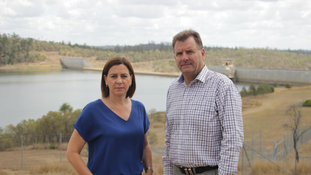 Opposition leader Deb Frecklington and Burnett MP Stephen Bennett visit Paradise Dam. They said a parliamentary inquiry is necessary. Photo: Contributed.