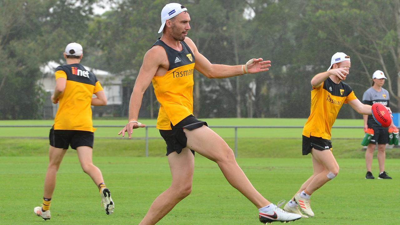 Jonothan Ceglar trains with Hawthorn AFL teammates at Maroochydore Sports Complex in Kuluin.