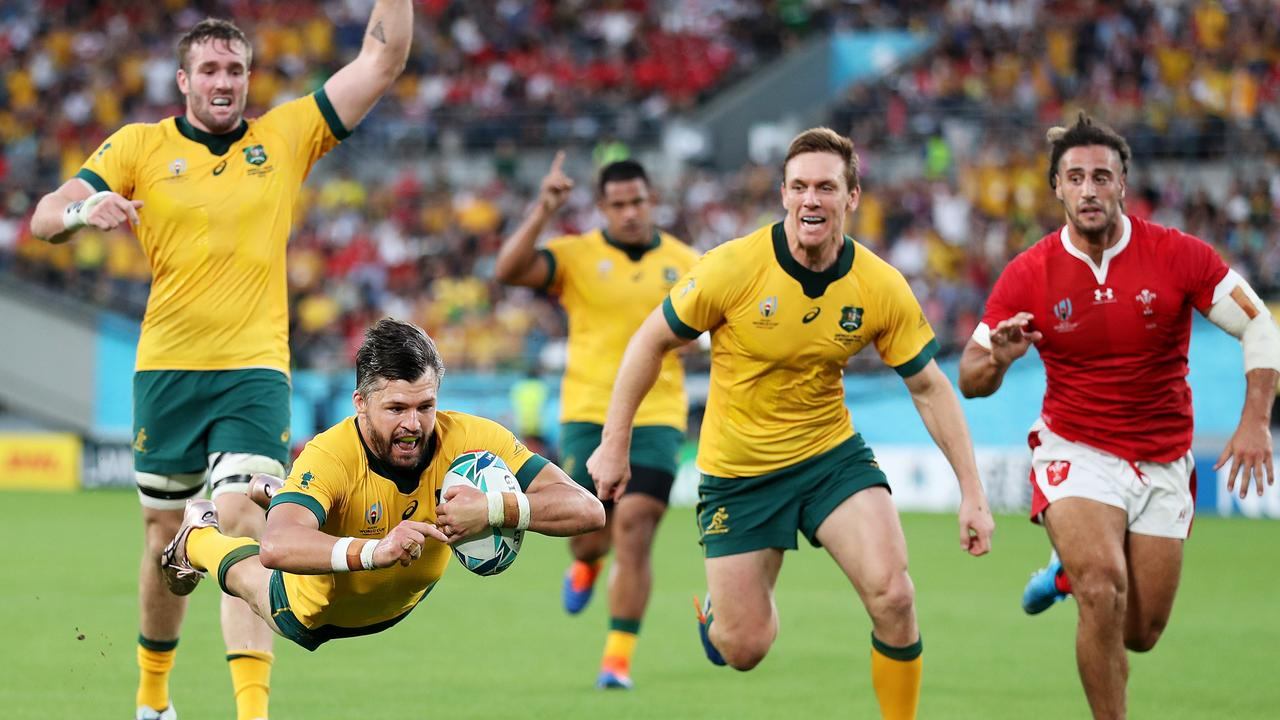 Adam Ashley-Cooper opened Australia's account against Wales. Picture: Getty Images