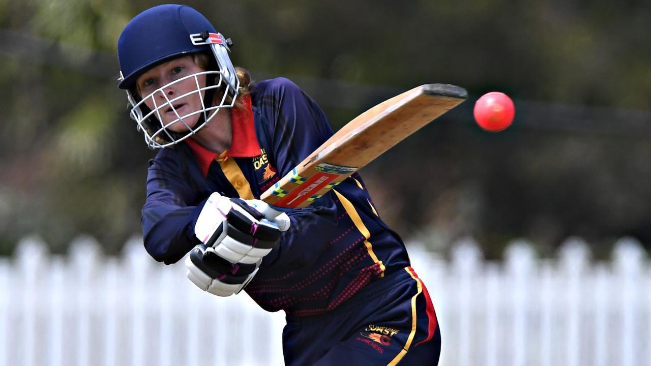 Sunshine Coast Scorchers women's cricket match against Wynnum Manly at John Blanck Oval.Scorchers opener Emma McCord on the front foot. Photo: Warren Lynam