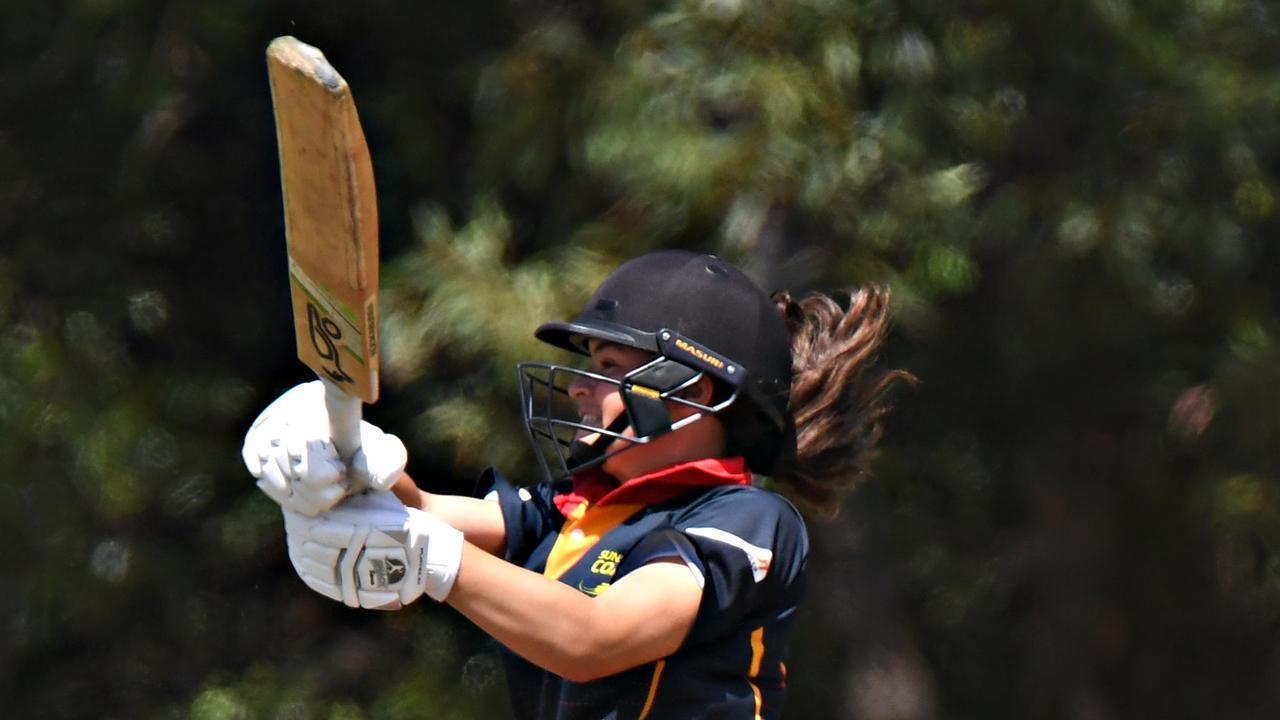 Sunshine Coast Scorchers women's cricket match against Wynnum Manly at John Blanck Oval.Scorchers opener Mikayla Wrigley on the attack. Photo: Warren Lynam