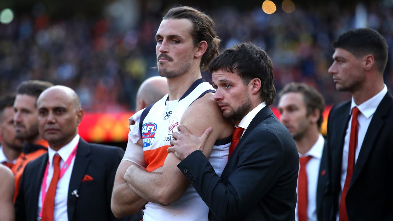 GWS Giants captain Phil Davis was consoled by teammate Dylan Buckley. Picture. Phil Hillyard