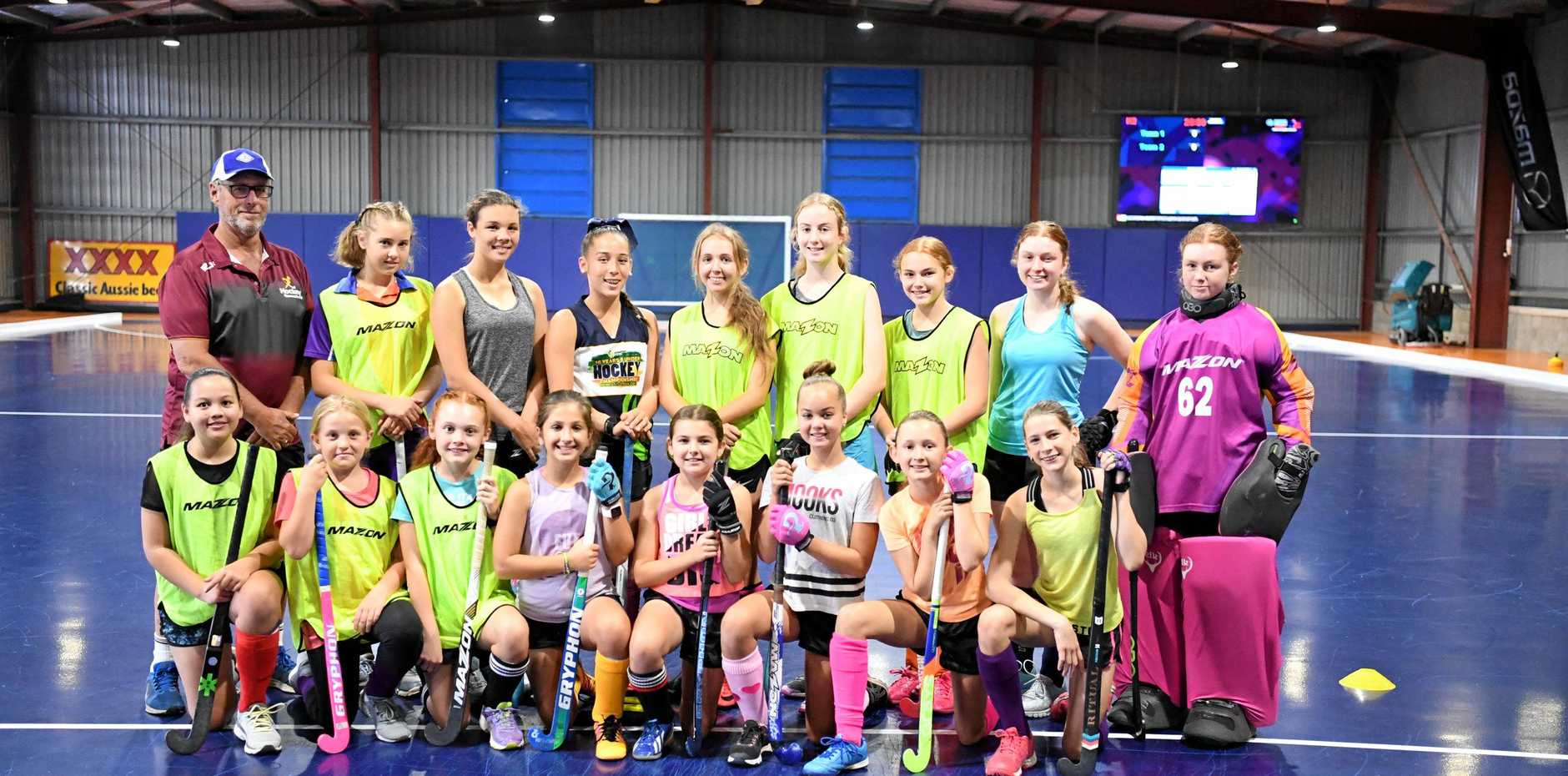 STATE OF ART: U13 and U15 Maryborough Indoor Hockey Girls Squads were trying out the new purpose built complex. Front: Jade Harris, Jemma Scougall, Matilda Harrison, Talia Hill, Keira McDonnell, Rhianna Campbell, Holly Lovelocl and Georgia Mitchell.Back: Coach Shane Palmer, Sierra Pursey, Laura Davies, Annelyse Tevant, Vada Thaggard, Andie Staples, Ava McDonnell, Ella McMahon and Kirralee McCulloch.