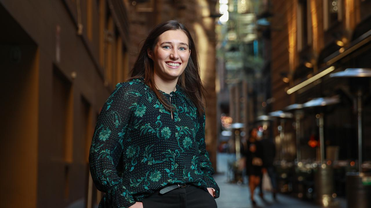 Jacquie Ryan who is a young home hunter, in Sydney, CBD, today. Picture: Justin Lloyd