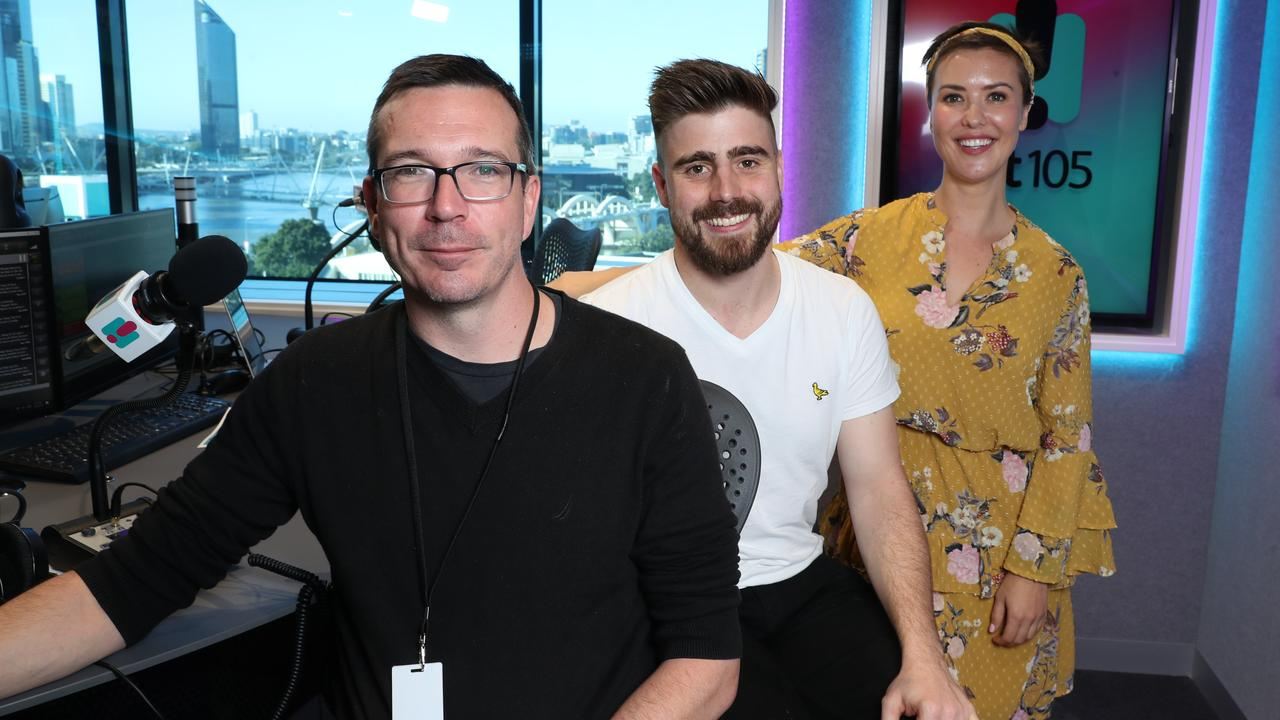HIT105 hosts Stav, Abby and Matt were the big movers, jumping to second most popular breakfast program. Picture: Liam Kidston.