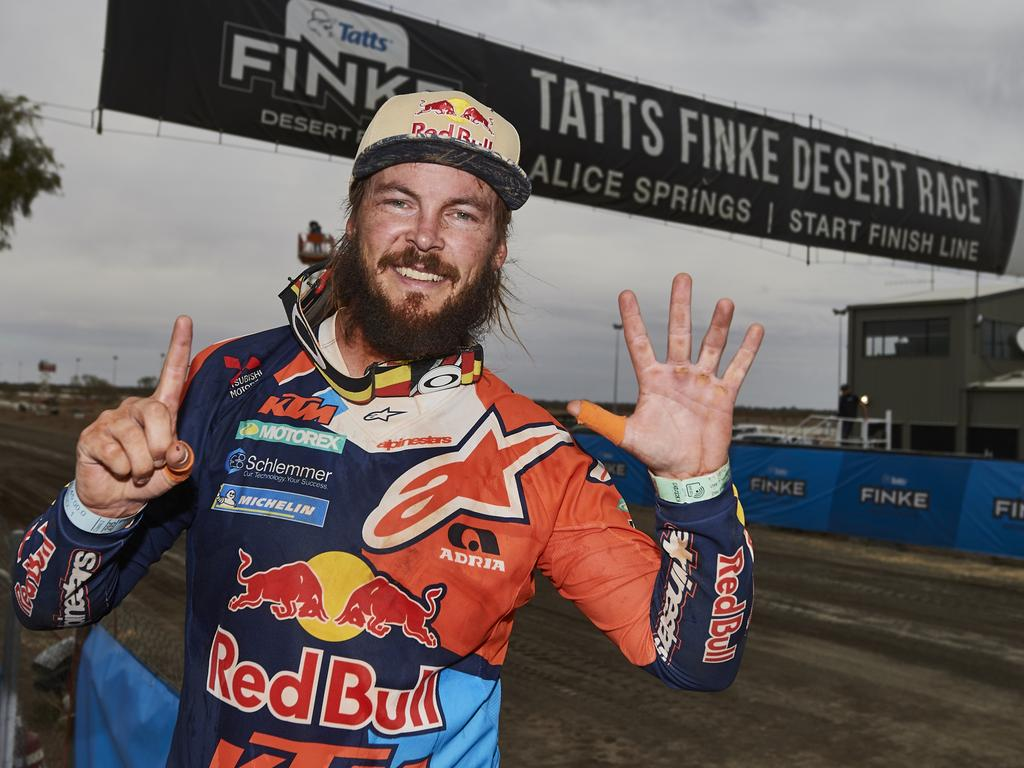 Fingers and Finkers ... Toby Price at the Tatts Finke Desert Race 2018.