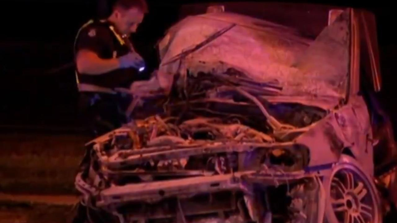 Shannon Juriansz's Nissan Skyline after the crash. Picture: 7 News