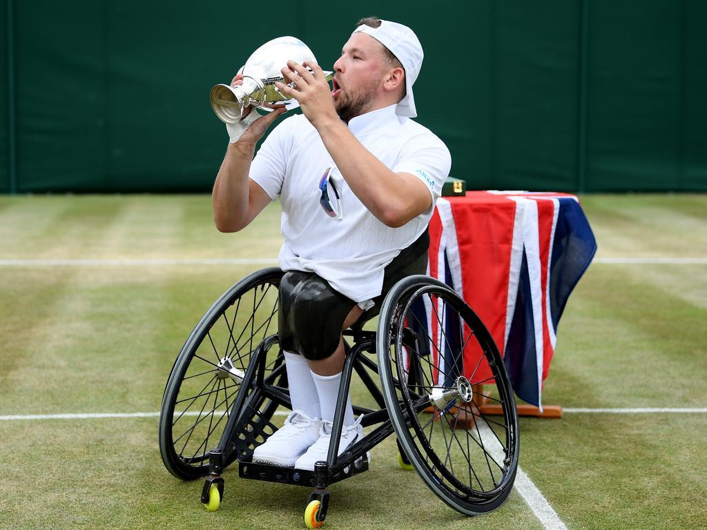 An Aussie champ ... Dylan Alcott at Wimbledon 2019.