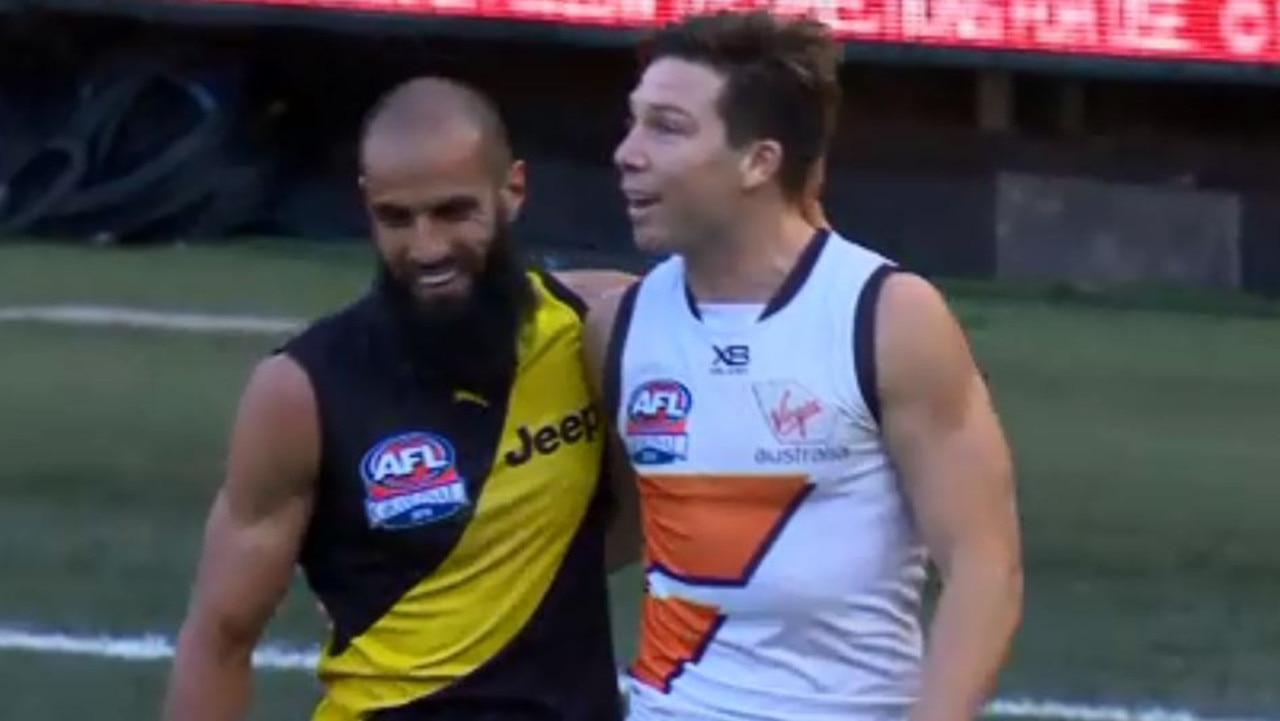 Bachar Houli and Toby Greene share a moment.