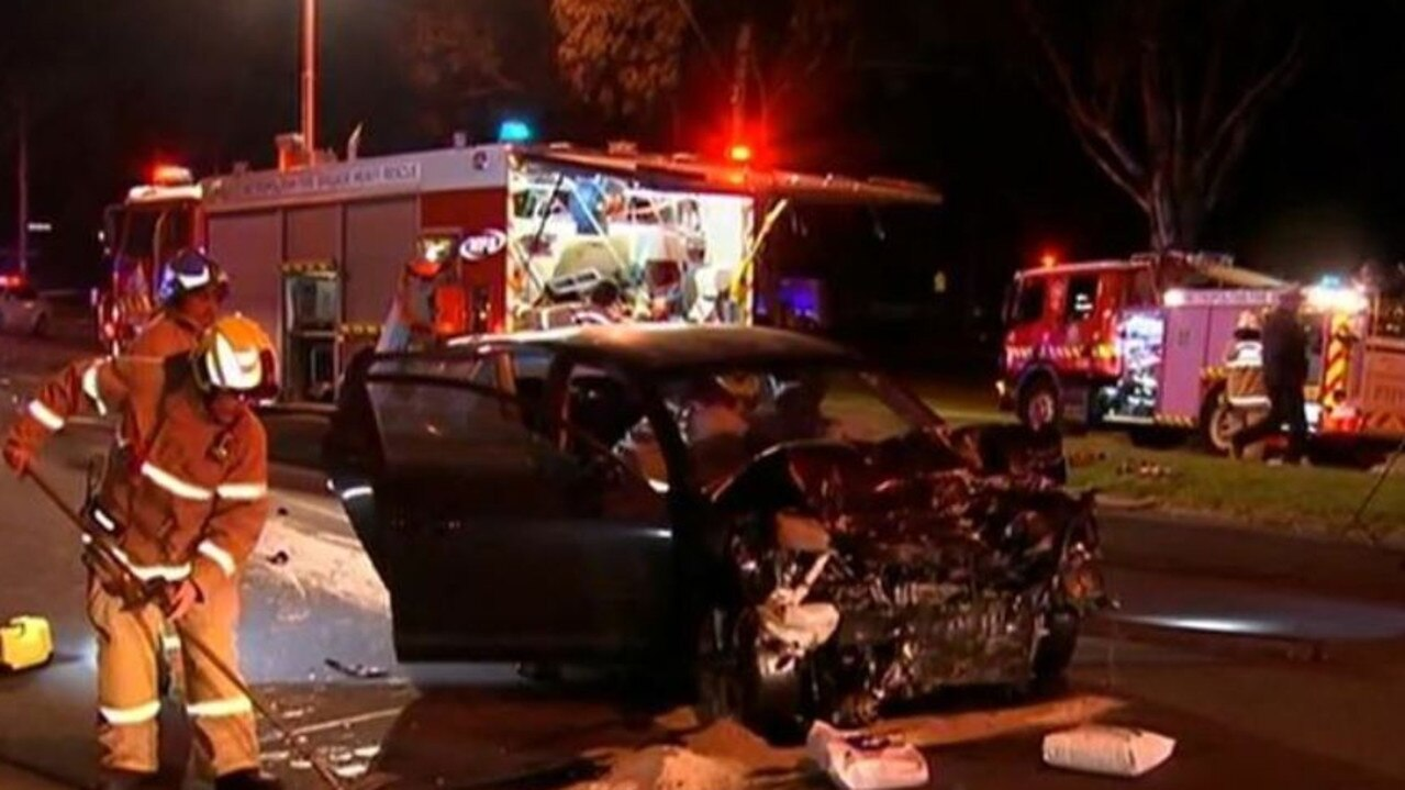 The Mazda involved in the shocking crash. Picture: 7 News