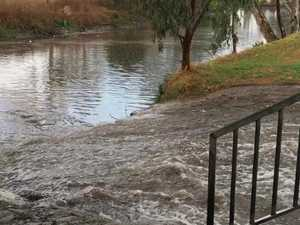 Rain rushes into the Condamine River