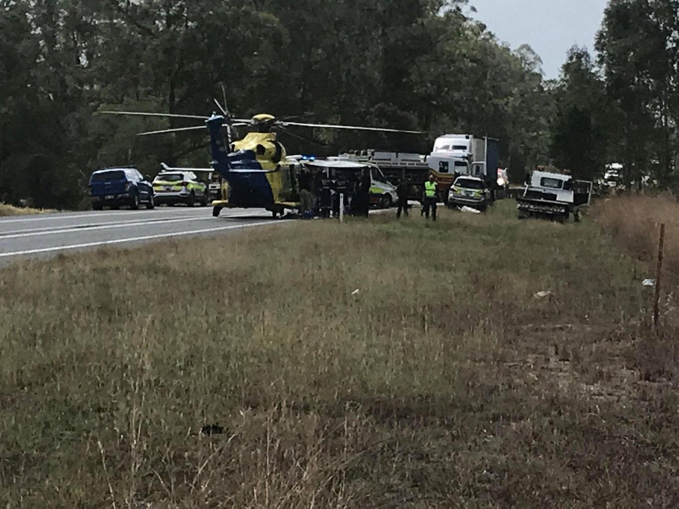The scene of a serious crash at Gunalda on Wednesday.