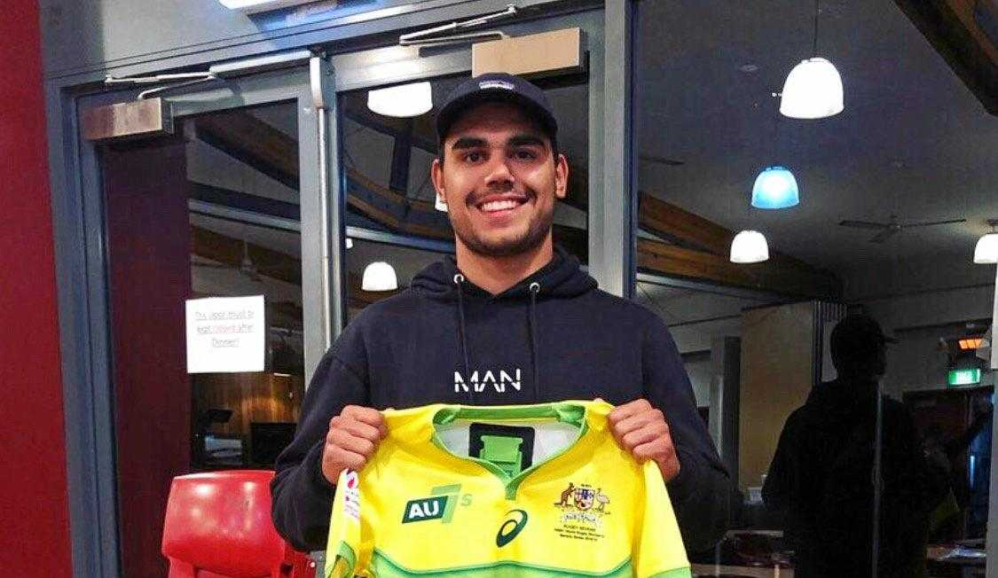 Toowoomba flyer Denzel Burns receives his First Nations Rugby 7s jersey.