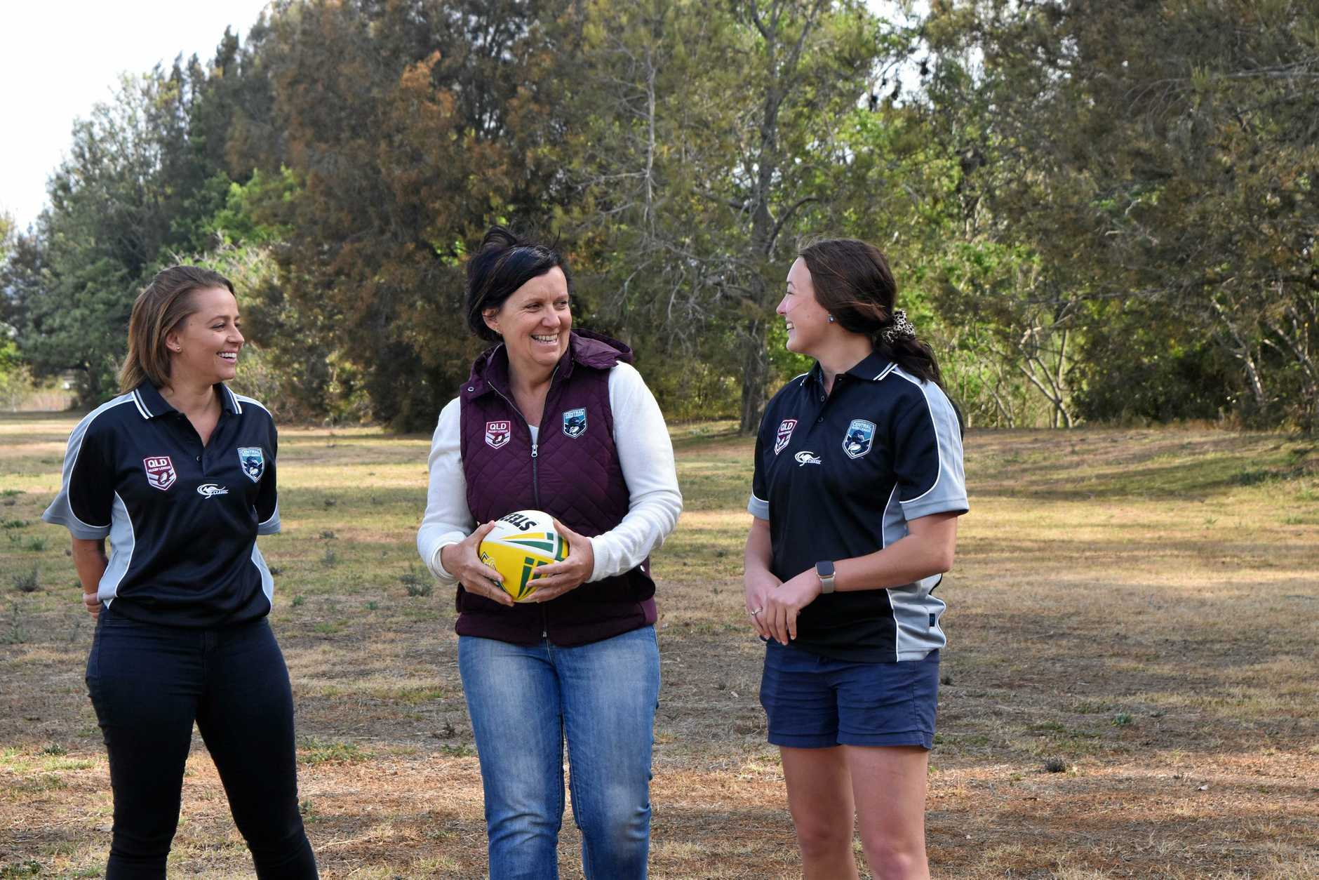 NEW GROUND: Discussing the introduction of the TRL women's competition are (from left) Amy Rae, QRL operations manager Jackie Stephson and Kaylah Pearce.