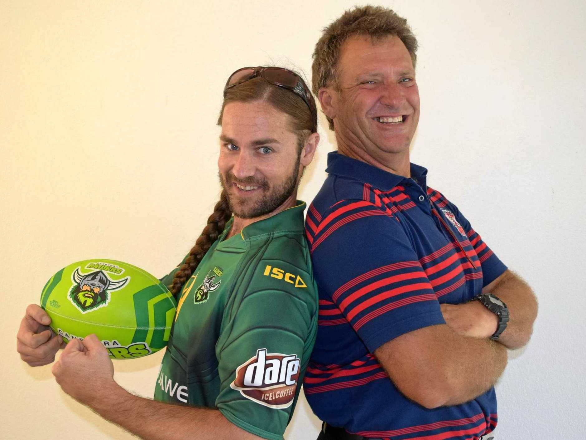 Canberra Raiders devotee Daniel Thursberg and Sydney Roosters fan Bob Manning are ready to watch their teams play off in the NRL grand final on Sunday.