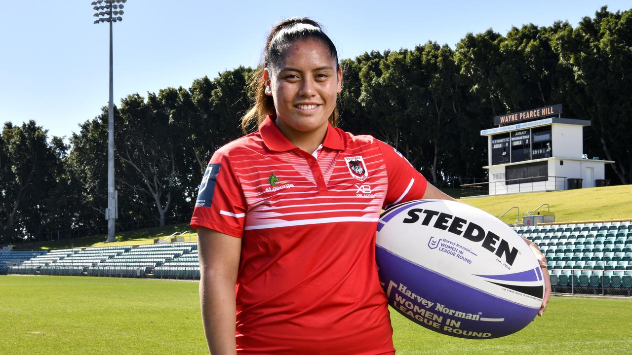 Former basketballer turned rugby league player Najvada George in her St George Dragons colours. Pic: Grant Troville NRL Photos.