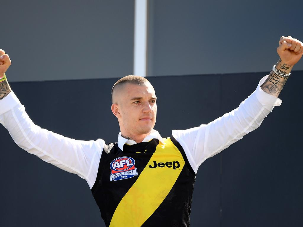 Bad boy gone good ... Dustin Martin during the Tigers' Grand Final Celebrations. Picture: Getty Images