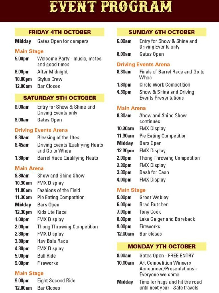 A complete list of all the activities and events happening this weekend at the Sarina Ute Muster