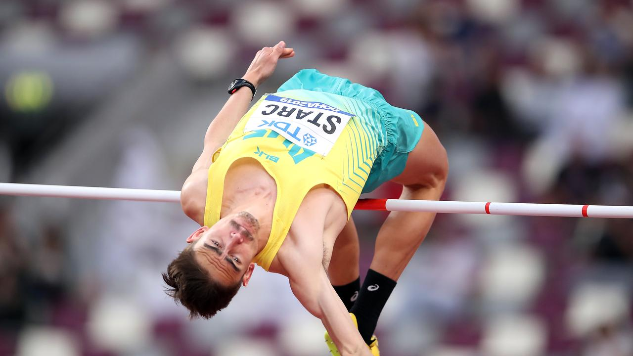Brandon Starc competes in the high jump qualification. Picture: Getty