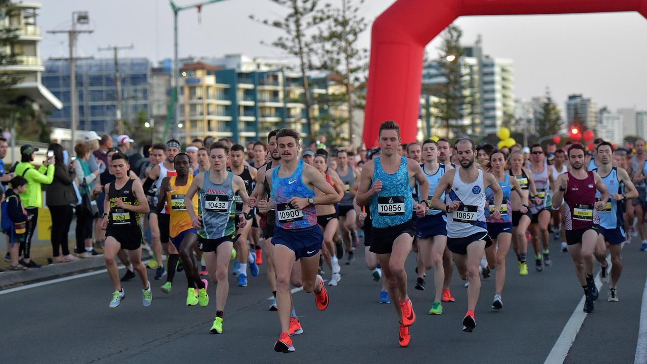 Runners take part in the Sunshine Coast Marathon. Start of the race.