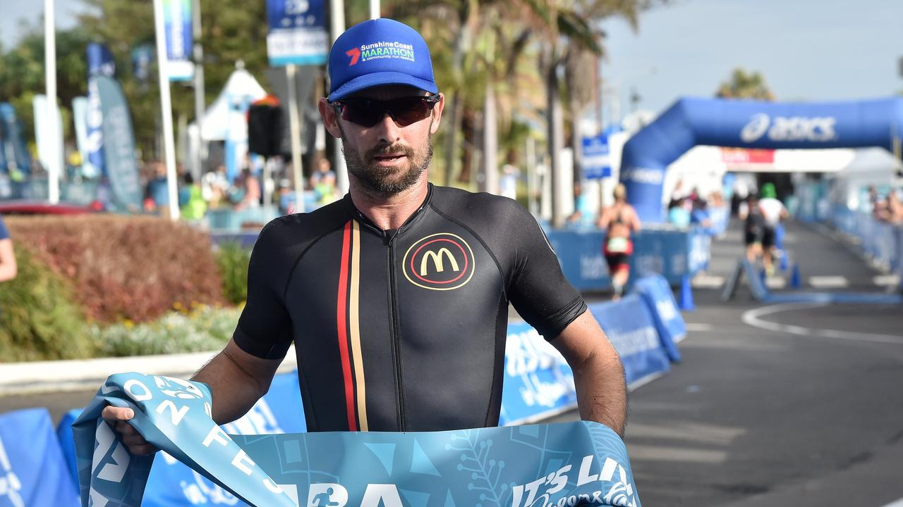 Competitors in the 2019 Mooloolaba Triathlon. Buderim's Jason Crowther wins Mooloolaba Sprint race