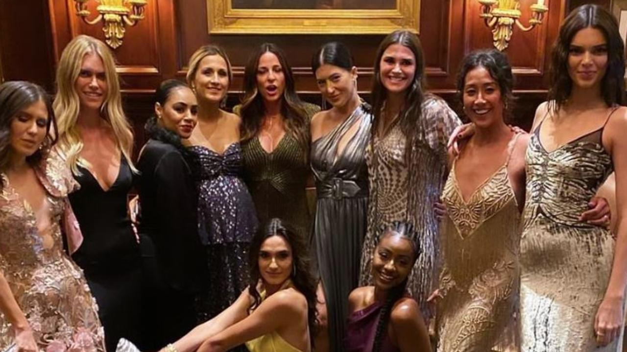Kendall Jenner (far right) and a bevvy of models at the exclusive event. Picture: Instagram