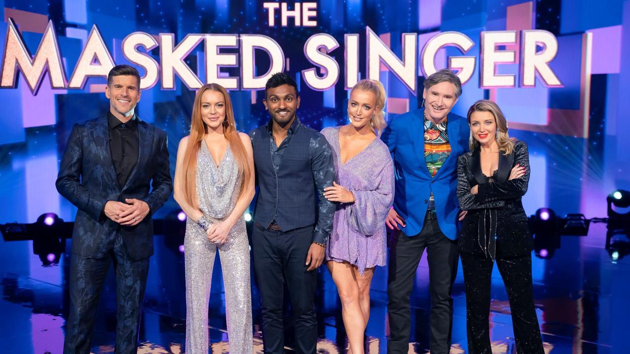 MASKED SINGER: Host Osher Gunsberg with guessing panellists Lindsay Lohan, Nazeem Hussain, Jackie O, Dave Hughes and Dannii Minogue