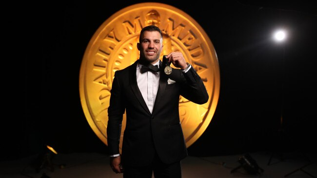 James Tedesco celebrates after winning the 2019 Dally M Medal. Picture: Brett Costello