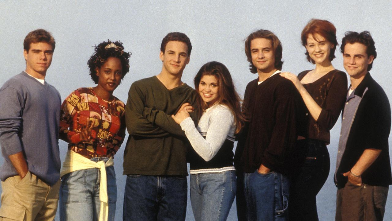 Boy Meets World cast members Matthew Lawrence, Trina McGee, Ben Savage, Danielle Fishel, Will Friedle, Maitland Ward and Rider Strong in 1999. Picture: Alamy