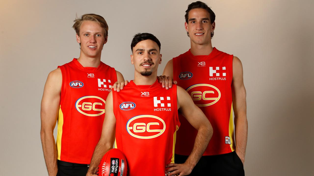 Gold Coast's top picks in the 2018 draft - South Australians Jack Lukosius and Izak Rankine, and Victorian Ben King. (Photo by Adam Trafford/AFL Media/Getty Images)
