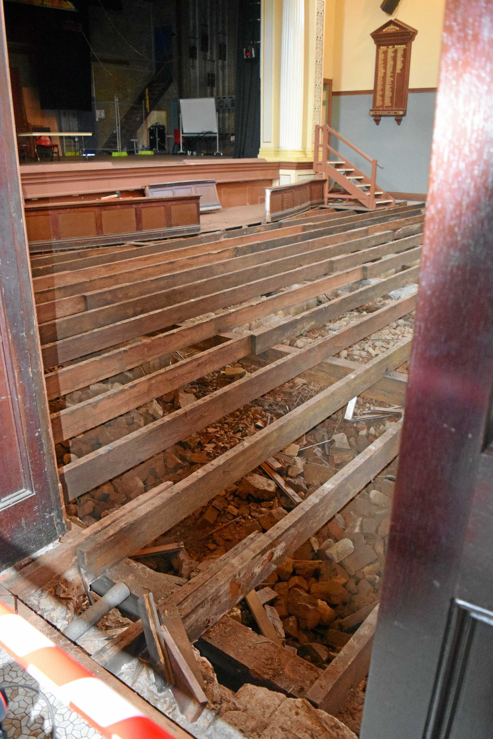 The Maryborough City Hall was closed for several months while the auditorium floor is being replaced.