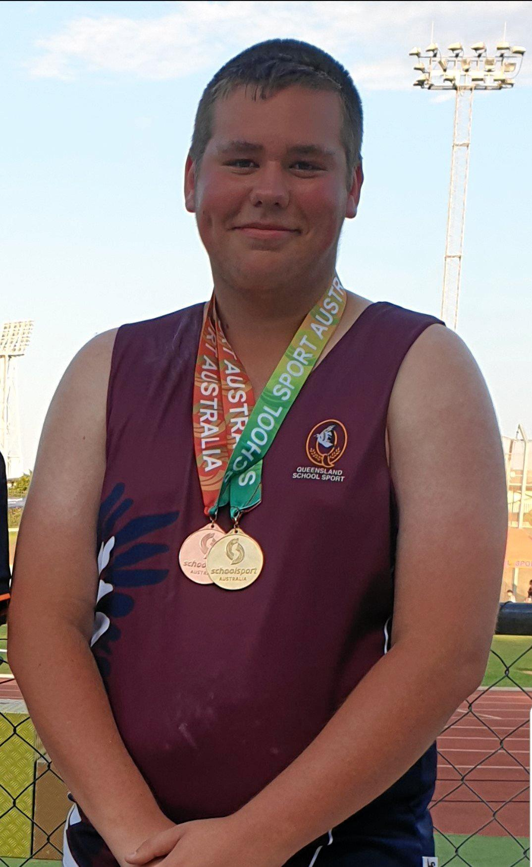 GOLDEN MOMENT: Jack Smith won his third straight shot put gold medal at the 10-12 years School Sport Australia Track & Field Championships in Darwin recently.