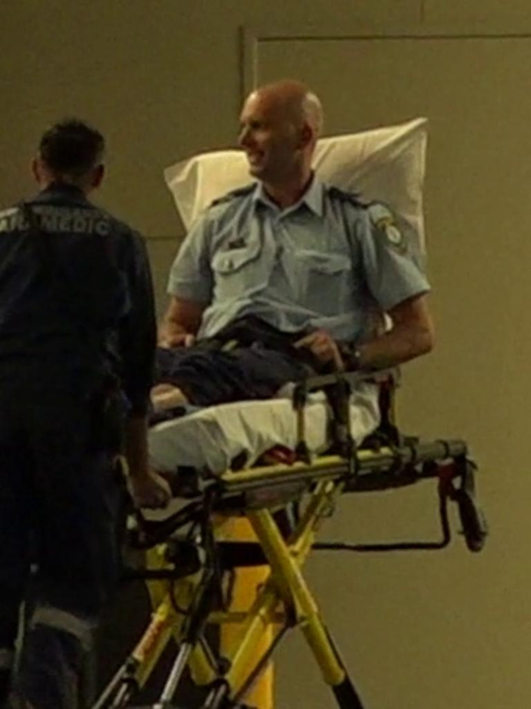 An injured police officer arriving at Nepean Hospital last night. Picture: TNV
